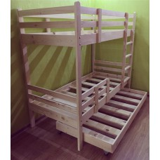 """Кровать двухъярусная - """"классика"""" c дополнительным выдвижным спальным местом"""